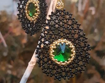 earrings from beads, Beaded Earrings Rivoli,  Earrings Dangle, Earrings Boho, earring lace,Openwork earrings from beads handmade