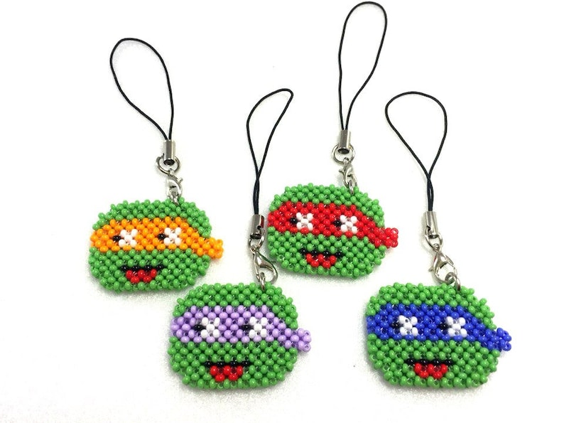 Bead Teenage Mutant Hero Turtles Keychain a gift for a boy to a comic lover
