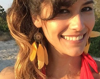 Yellow leaf boho earrings