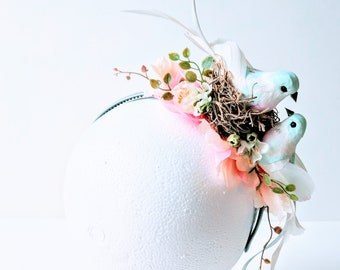 Floral Bird Headpiece - One of a Kind Fascinator Bridal Wedding Festival Crown Flower Girl Fascinator