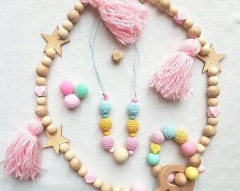 Breastfeeding and Babywearing pastel necklace