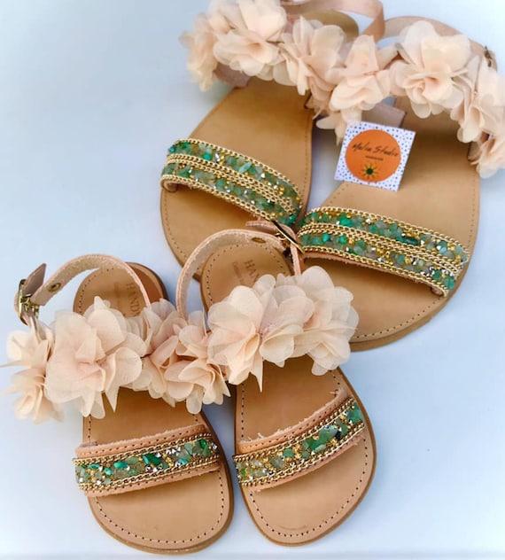 mommy and kid slide sandals Mommy and me Greek leather sandal slides set