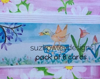 Pack of 8 Pretty Greeting Cards