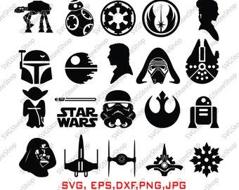 Star war svg - Star war silhouette - Star war vector - Star war digital clipart for Design or more, files download svg, png, DXF