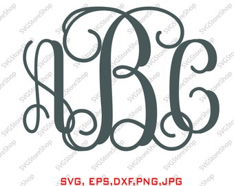 Interlocking Vine monogram Font SVG collection, Interlocking Vine DXF, Letter clipart, Font for silhouette cameo or circle, PNG, vector file