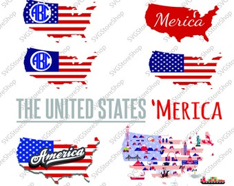 USA flag svg, American flag svg, USA flag monogram, Merica svg, Patriotic Monogram, United States svg, dxf, for CriCut and Silhouette