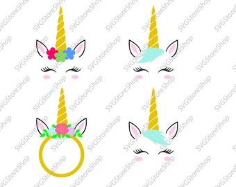 Unicorn SVG, Unicorn head Svg, Unicorn flower svg, Unicorn Face SVG, Cute Unicorn SVG, Cricut, Silhouette Cut File, svg, png, dxf
