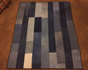 Recycled denim patchwork quilt