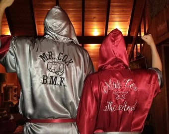 Adult Boxing Silk Satin robes Custom made robes Personalized robes embroidered robes, mongorammed robes Boxing robes Men boxing robes Couple