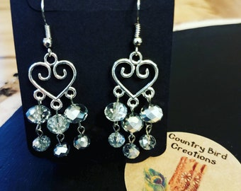 Heart Swirl Swarovski Bead Separated Dangle Earrings