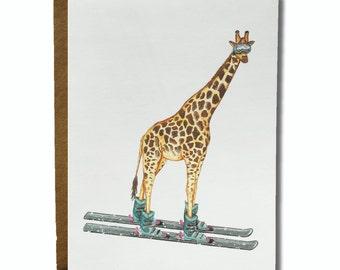 Skiing Giraffe Greetings Card