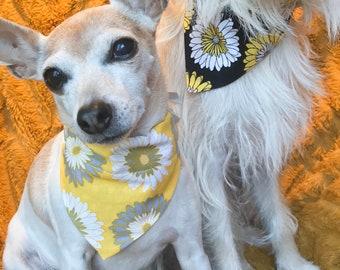 Reversible Dog Bandana Set Super Bloom - Yellow and Black Floral