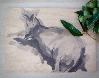 Kangaroo at rest. Art print on wood block.