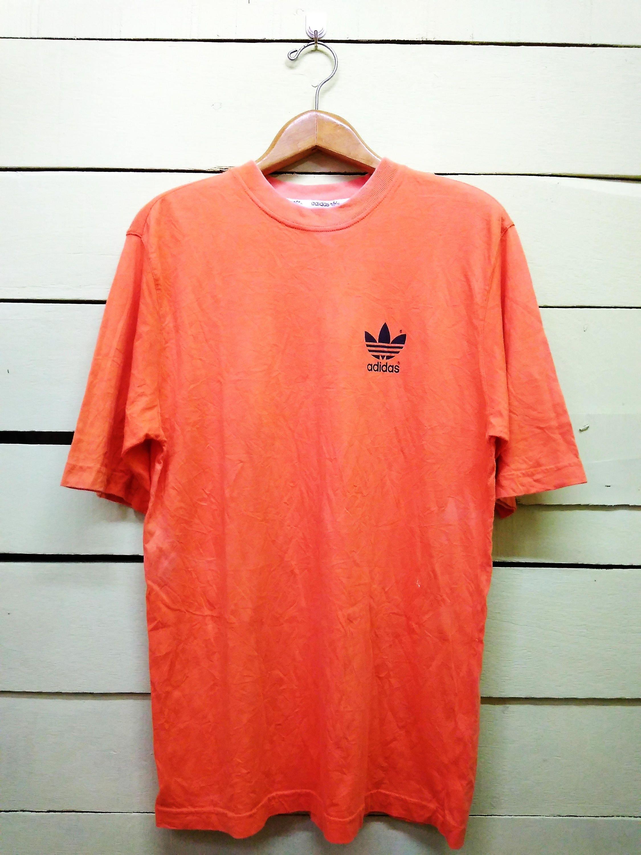 2b369b6ab8468 Vintage 90's Adidas Trefoil Big Logo Tshirt / Adidas 3 Stripes Orange Color