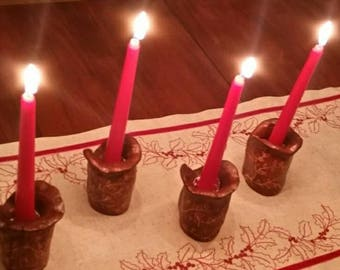 Carved wood candle holders