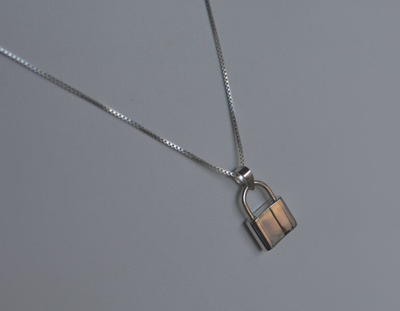 Sterling Silver Padlock Necklace image 0