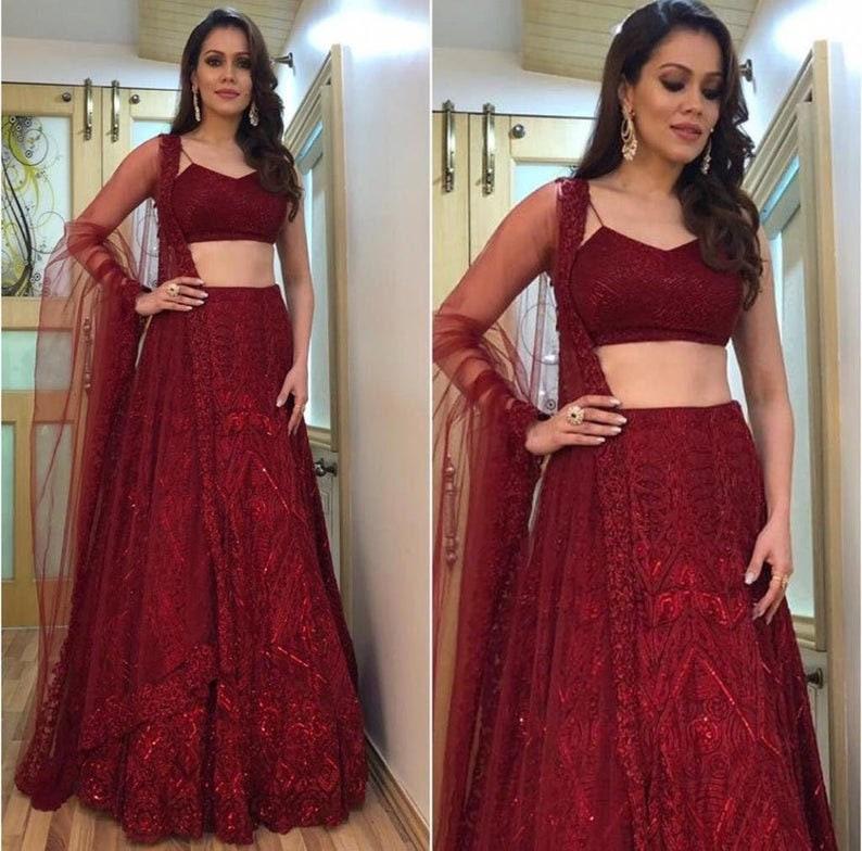 Party Wear Embroidery Chain Work Dress Red Georgette Lehenga Choli For Women Designer Wedding Lehenga With Net Dupatta