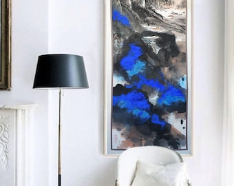 Chinese Art Wall Decor Modern Landscape Painting Original Painting Ink Splash Blue Mountain Painting