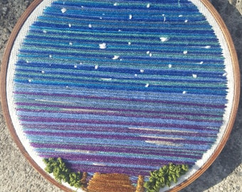 Starry Night On The Dock Embroidery
