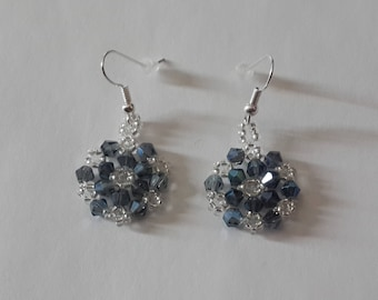 Handmade-Snowflake Earrings-Gift for Her-Unique-Beaded Earrings-Anniversary Gift-Bridesmaid Gift-Wedding Jewelry-Frozen-Winter Jewelry
