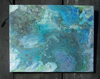 Acrylic Abstract Orignal Unique Fluid art painting . called The Earth from afar.