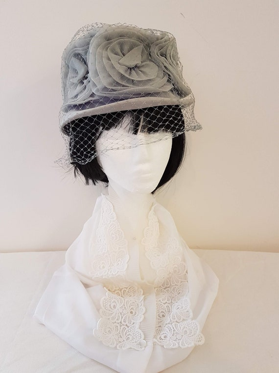 Vintage 50s Grey Rosette Veiled Hat, Ultra Hats, A