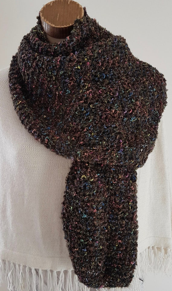 Knit hat and scarf set  Rainbow Boucle yarn  Shades of Blue