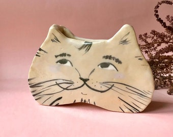 ceramic cat planter, two different sides