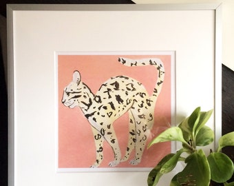 Exotic cat art print 21 x 21 cm - peachy pink