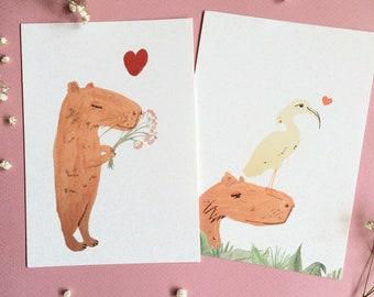 cute capybara postcards set