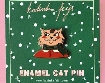 seasonal cat pin, cute christmas mr. Cat hard enamel pin, winter kawaii cat brooch or lapel pin