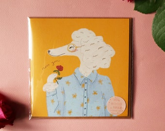 Miss you poodle greeting card, folded card on recycled paper with envelope, care message card, ik mis je, je te manque, illustrated poodle