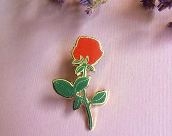 Rose hard enamel lapel pin, floral badge or brooch, cute flower pin