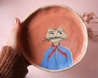 handpainted mr. cat dish, cute ceramic plate, snack platter, decorative dish, jewelry dish or key trinket