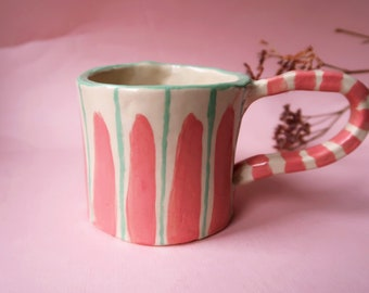 Cute mug with face inside, handmade ponk and green striped mug with happy face, kawaii coffee or tea cup