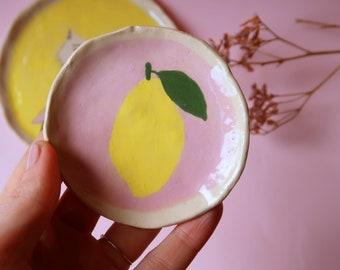 Handmade ceramic trinket dish, hand painted small lemon dish