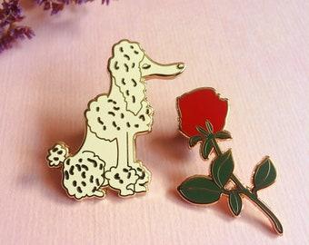 Poodle & rose enamel pin set, hard enamel pin, badge or brooch, cute dog and flower pin