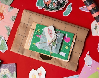Christmas mystery box, holidays surprise lucky dip pack with enamel pin, holidays cards, stickers and stationery