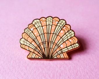 scallop enamel pin, cute hard enamel lapel pin, sea theme pin, kawaii scallop or shell brooch
