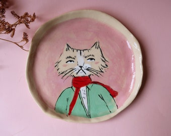 Annoyed cat dish B GRADE, pink hand painted ceramic plate