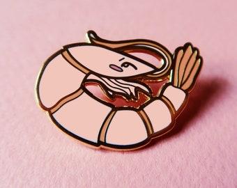 shrimp friend pin, cute li'l shrimp hard enamel lapel pin, pink kawaii shrimp or prawn brooch