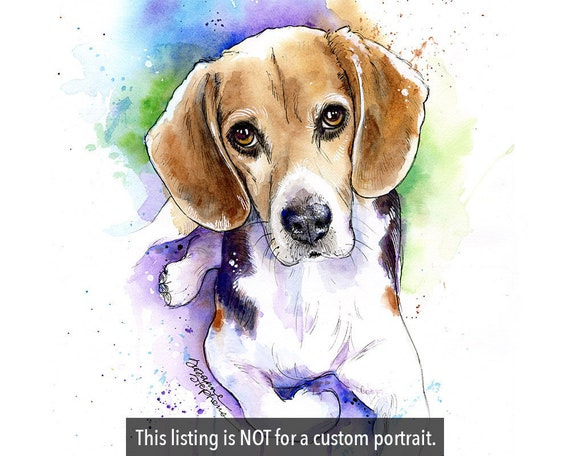 UNFRAMED Beagle Gift Personalized Dog Print Beagle Art Print Beagle Print Personalized Dog Gifts for Owners Dog Portrait Print