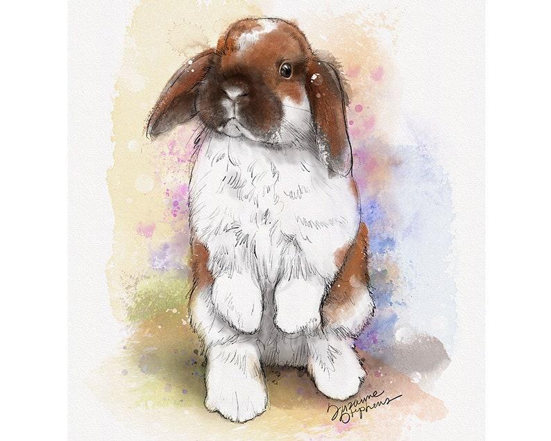 7b85381251a Holland Lop Bunny Rabbit Watercolor Art Print Pet Themed