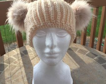 Women's Crocheted Double Pom Pom Hat Cream Color