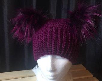 Women's Crocheted Double Pom Pom Hat In Purple