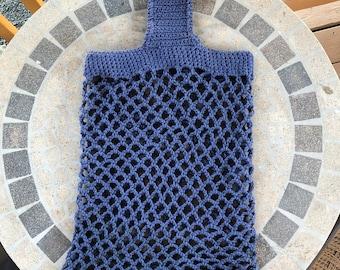 Crocheted Cotton Market Bag Blue