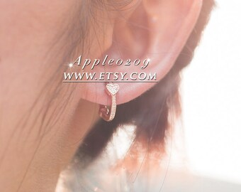 c7a76ee86 Jewelry Earrings 2018 Autumn Rose Gold Alluring Hearts Earrings With Clear CZ  Hoop Earrings For Woman Jewelry