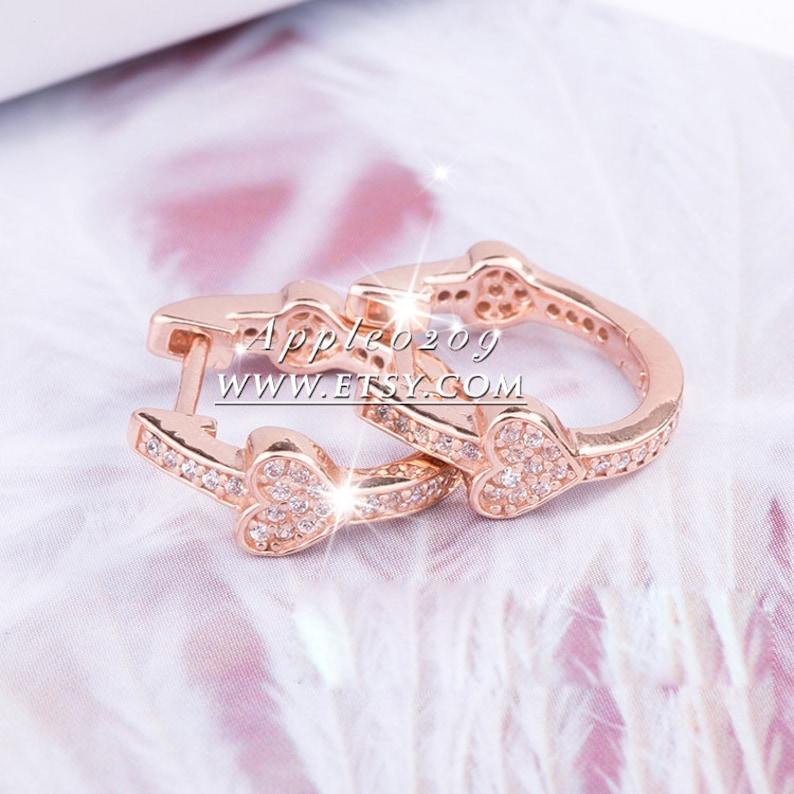 Jewelry Earrings 2018 Autumn Rose Gold Alluring Hearts Earrings With Clear CZ Hoop Earrings For Woman Jewelry