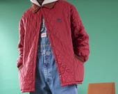 Vintage Kappa quilted jacket 90s jacket in burgundy red with a corduroy collar Streetwear Kappa jacket