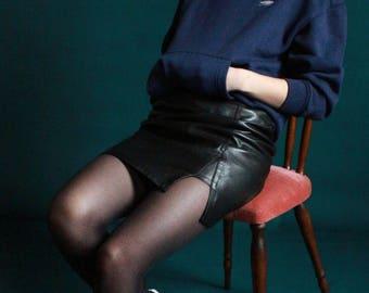 Black leather miniskirt / JUP17-6